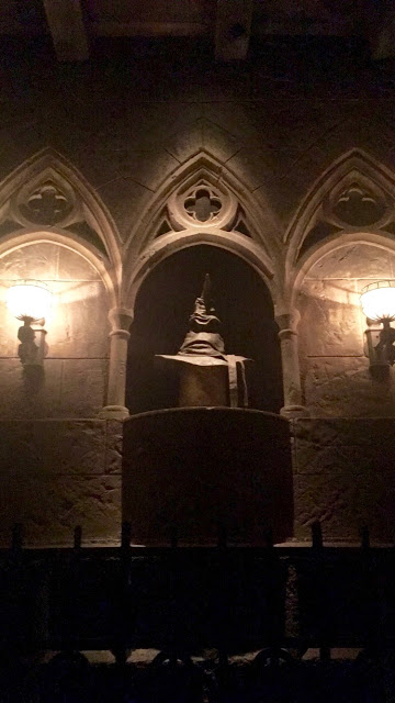 The Sorting Hat (who also talks) right before you get on the ride.
